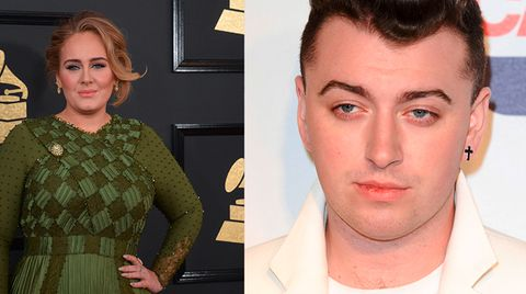 Fotos der Musiker Adele und Sam Smith nebeneinander