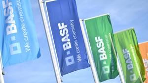 Bunte BASF-Fahnen