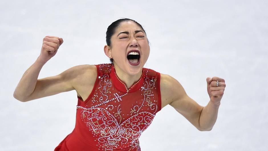 Geschafft! Mirai Nagasu jubelt nach ihrem gestandenen dreifachen Axel.