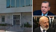 Türkischer Präsident Recep Erdogan, Geschäftsmann Ethem Sancak und das schwer gesicherte Gebäude des Rheinmetall-Partners BMC