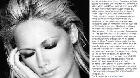 Neben einem Schwarz-weiß-Foto von Helene Fischer sind die Zeilen zu sehen, die die Sängerin auf Facebook an ihre Fans schrieb