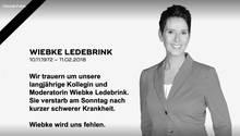 Auf Facebook hat Sat1 eine Traueranzeige für die verstorbene Moderatorin Wiebke Ledebrink gepostet