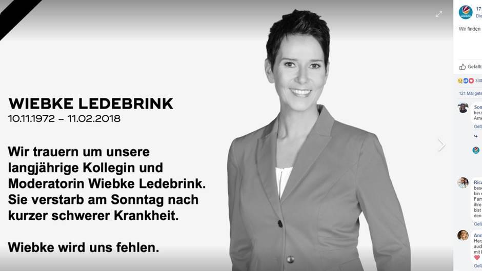 Sat1 hat auf Facebook eine Traueranzeige für die verstorbene Moderatorin Wiebke Ledebrink gepostet