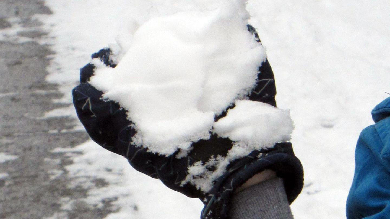 Junge mit Schneeball