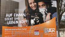 Das DAK-Plakat in Zeulenroda-Triebes in Thüringen