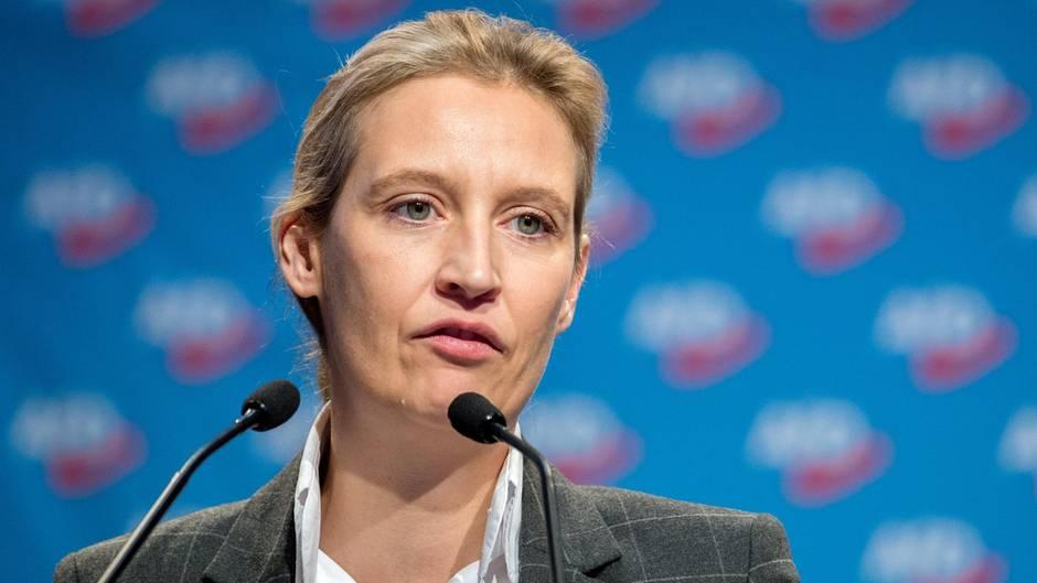 AfD-Fraktionsvorsitzende Alice Weidel steht an zwei Mikrofonen