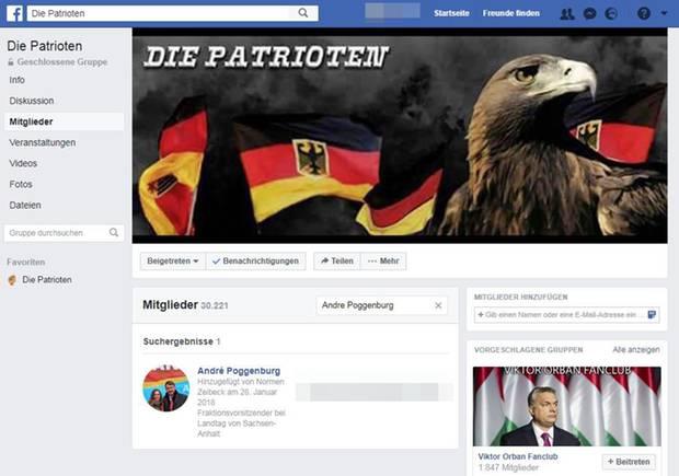 """André Poggenburg in der Facebook-Gruppe """"Die Patrioten"""""""
