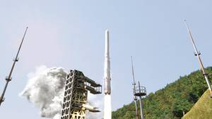 Start einer koreanischen Trägerrakete amWeltraumbahnhof Naro an der Südküste.