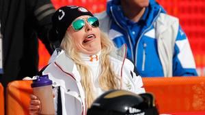 Echte Komikerin: Skirennfahrerin Lindsey Vonn weint oft auf Pressekonferenzen. Aber der Ski-Star kann auch anders, wie hier unschwer zu erkennen ist. Während des Trainings in Pyeongchang schneidet sie ganz entspannt Grimassen.
