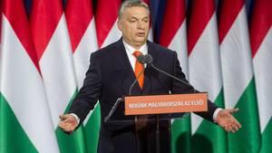 Viktor Orban, Ministerpräsident von Ungarn, bei einer Rede