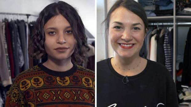 Sie wagen das Experiment und verzichten bis Jahresende darauf, sich neue Kleidung zu kaufen: Studentin Özben (20) und Social Media-Managerin Ioana (30).