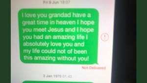 Dieser Screenshot einer SMS von einer Neunjährigen an ihren toten Opa macht gerade auf Twitter die Runde