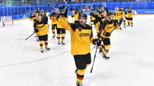 Deutsches Eishockey-Team jubelt über Einzug ins Olympia-Viertelfinale in Pyeongchang