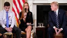Donald Trump mit Überlebenden des Parkland-Massakers - Er ist offen für die Idee, Lehrer zu bewaffnen