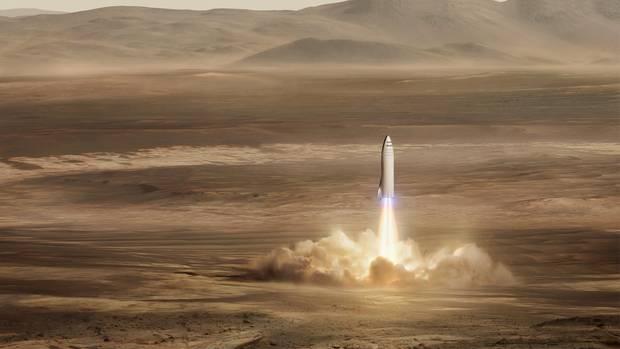"""Fähre: So soll die obere Stufe einer Rakete vom Typ """"BFR"""" einmal auf dem Mars landen"""