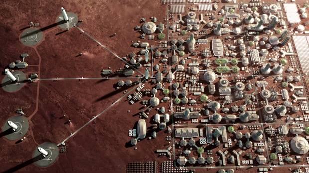 Zukunftstraum: Eine komplett autarke Stadt – wie hier in der Animation – soll einmal auf dem Mars entstehen