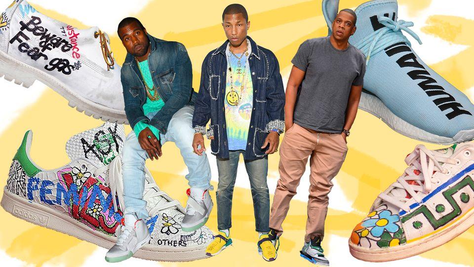 Vier Sneaker von unterschiedlichen Marken auf einem Bild und die Rapper Pharrell, Kanye West und Jay-Z