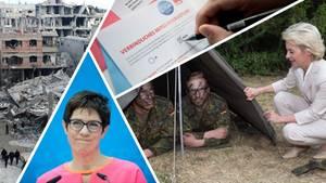 Eine Collage des aktuellen Politik Geschehens: Die Bundeswehr, das Grauen in Syrien, Kramp-Karrenbauer und das SPD-Votum