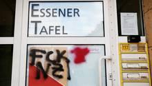 Graffiti-Schmierereien am Gebäude der Tafel in Essen