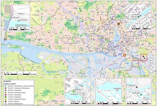 Die Leichenteile wurden verteilt über das Hamburger Stadtgebiet gefunden