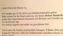 Brief einer Grundschule an die Eltern