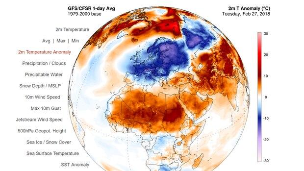 In der Arktis stellenweise zu warm, in Europa zu kalt - die Temperaturabweichungen vom langjährigen Mittel
