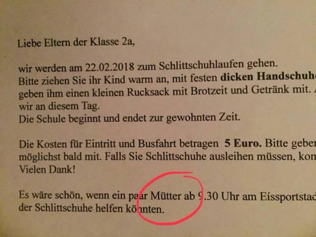 Brief einer Grundschule an Eltern sorgt für Debatte über Frauenbild ...