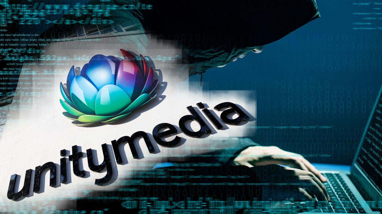 Unitymedia-Logo, ein Mann an einer Computertastatur