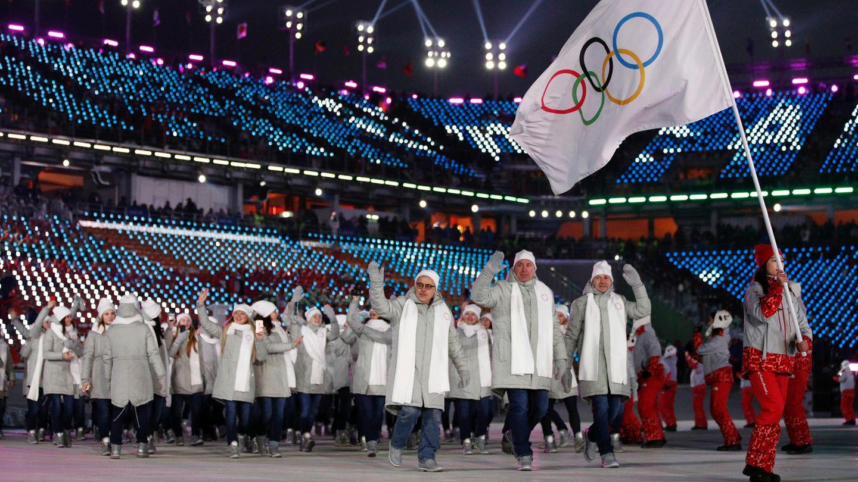 """Das Team """"Olympische Athleten aus Russland"""" (OAR)kommt bei der Eröffnungsfeier in Pyeongchang ins Stadion. Die Sanktionen gegen Russland wurden jetzt aufgehoben."""