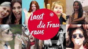 Rossfrau-Collage mit Logo in der Mitte