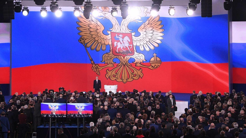 Wladimir Putin hält seine Rede an die Nation
