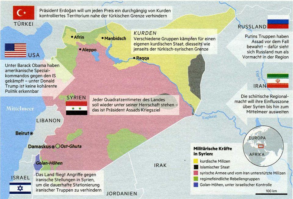 """Schachbrett Syrien  Die Rebellen und der """"Islamische Staat"""" sind zurückgedrängt. Jetzt versuchen das Assad-Regime und ausländische Mächte ihre Einflusszonen für die Zeit nach dem Krieg abzustecken"""