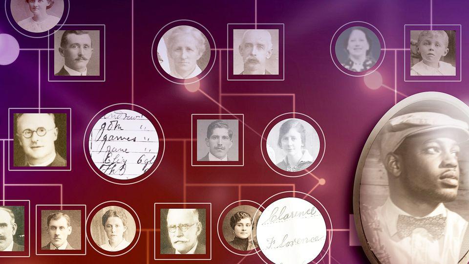 Portraits hängen an einer Wand und sind mit leuchtenden Linien verbunden.