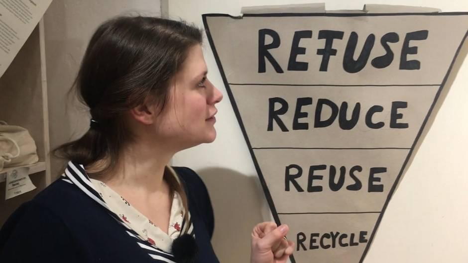 Frau mit einer Darstellung der fünf Prinzipien des Zero Waste