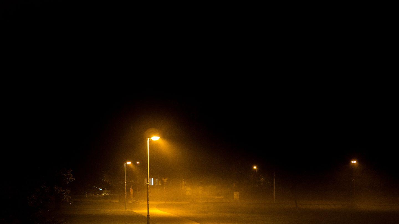 Straßenlaternen beleuchten einen dunklen Weg