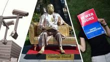 """Drei Bilder: Überwachungskameras, Harvey-Weinstein-Skulptur und ein Schild aus den USA mit der Aufschrift: """"Fewer Guns"""""""