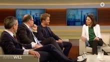 Anne Will mit Nico Rosberg und Minister Christian Schmidt in der Sendung zum Dieselskandal