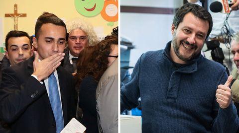Der Spitzenkandidat der Fünf-Sterne-Bewegung Luigi Di Maio (l.), und der rechte Lega-Chef Matteo Salvini