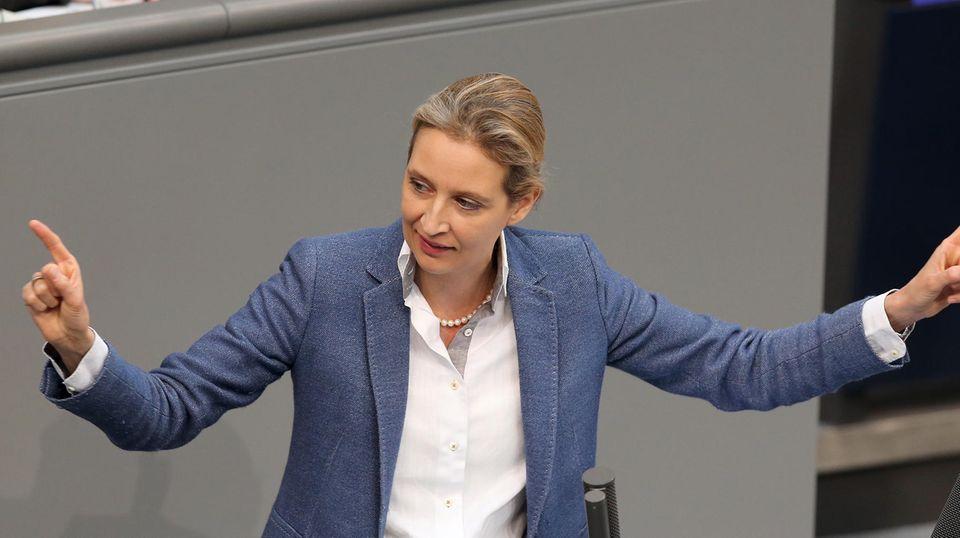 AfD-Fraktionschefin Alice Weidel spricht im Deutschen Bundestag