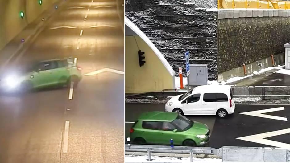 Dramatische Aufnahmen: Schockvideo: Autofahrer wendet mitten im Tunnel