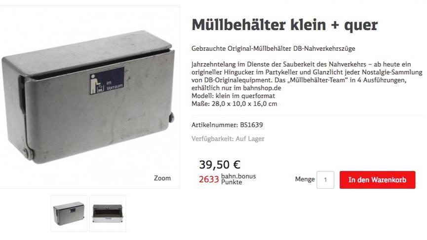 Angebot im Bahnshop: Ein Müllbehälter für 39,50 Euro