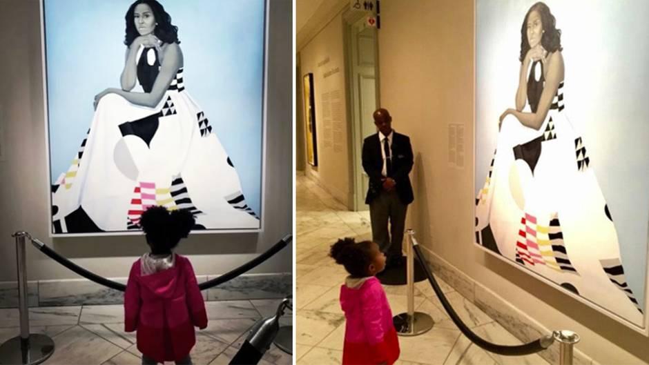 In US-Museum: Völlig fasziniert: Michelle-Obama-Porträt verzaubert Zweijährige