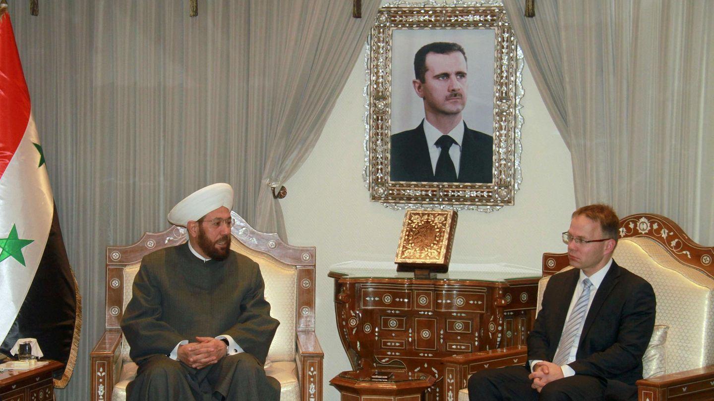 AfD-Mann Christian Blex (r.) beim Treffen mit Großmufti Ahmad Badr al-Din Hassoun