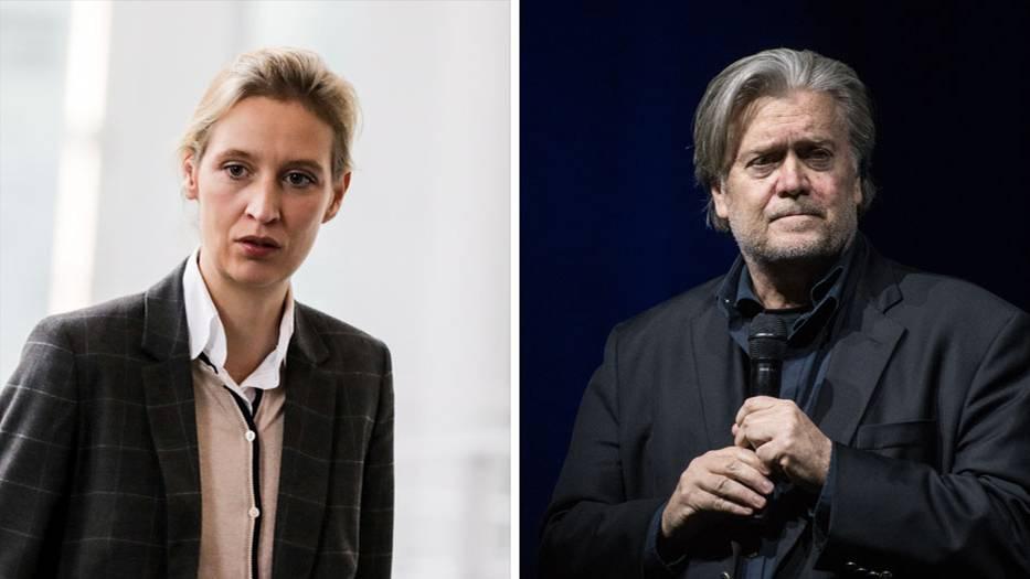 """AfD-Fraktionsvorsitzende Alice Weidel und Ex-""""Breitbart""""-Chef Steve Bannon"""