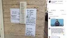 Ein Screenshot von der Facebook-Seite von Martina Rössler mit aufwendiger Anleitung für den DHL-Boten am Klingelschild.