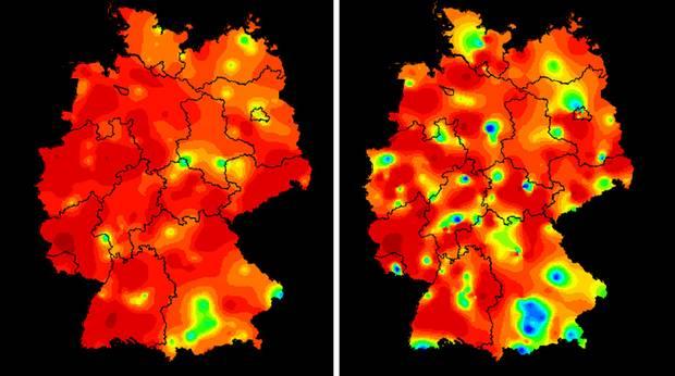 Aktivität der akuten Atemwegserkrankungen: Die achte Kalenderwoche (links) im Vergleich zur neunten Kalenderwoche. Rot steht für eine stark erhöhte Aktivität - blau für eine normale.