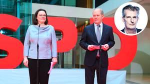 """Vor großen, roten """"SPD""""-Buchstaben stehen Andrea Nahles und Olaf Scholz auf der Bühne im Willy-Brandt-Haus"""