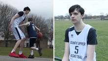 Eine Kombo zeigt links einen 2,24 Meter großen Teenager beim Basketball, rechts sitzt Brandon Marshall im Sportdress da.