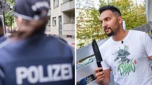 Eine Polizistin in Berlin und Vegankoch Attila Hildmann