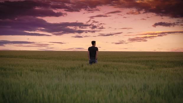 Ein junger Mann steht auf dem Feld und sieht in die Ferne